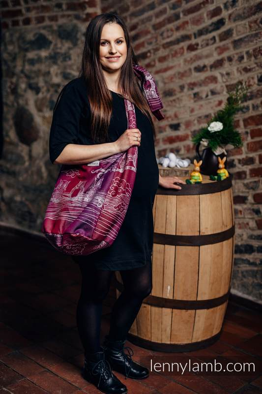 Torba Hobo z materiału chustowego, (100% bawełna) - SOWY BUBO - ZAGUBIONE W BURGUNDII #babywearing