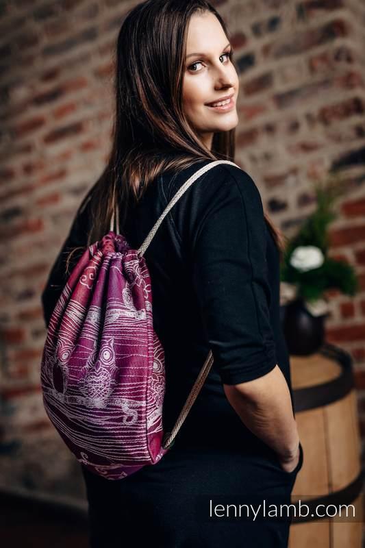 Plecak/worek - 100% bawełna - SOWY BUBO - ZAGUBIONE W BURGUNDII - uniwersalny rozmiar 32cmx43cm #babywearing