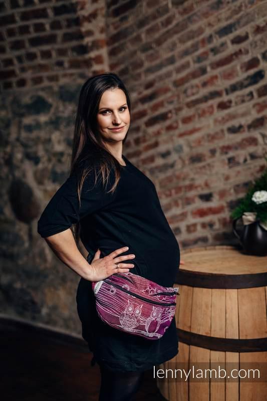 Saszetka z tkaniny chustowej, rozmiar large (100% bawełna) - SOWY BUBO - ZAGUBIONE W BURGUNDII #babywearing