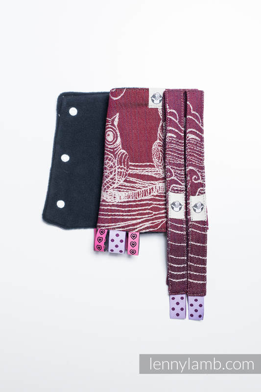 Drool Pads & Reach Straps Set, (60% cotton, 40% polyester) - BUBO OWLS - LOST IN BORDEAUX #babywearing
