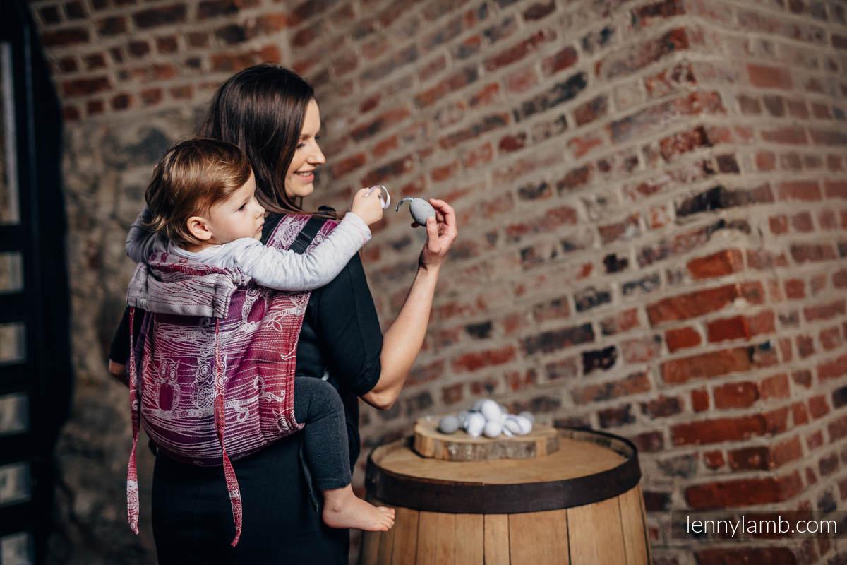 Onbuhimo SAD LennyLamb, talla Toddler, jacquard (100% algodón) - BUBO OWLS - LOST IN BORDEAUX #babywearing