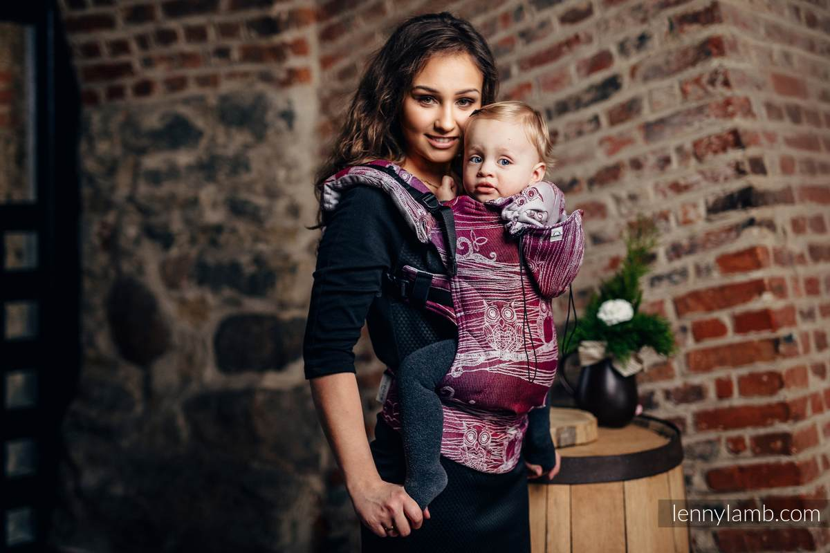Ergonomic Carrier, Baby Size, jacquard weave 100% cotton - BUBO OWLS - LOST IN BORDEAUX - Second Generation #babywearing
