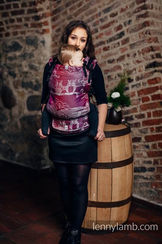 LennyUp Carrier, Standard Size, jacquard weave 100% cotton - BUBO OWLS - LOST IN BORDEAUX #babywearing