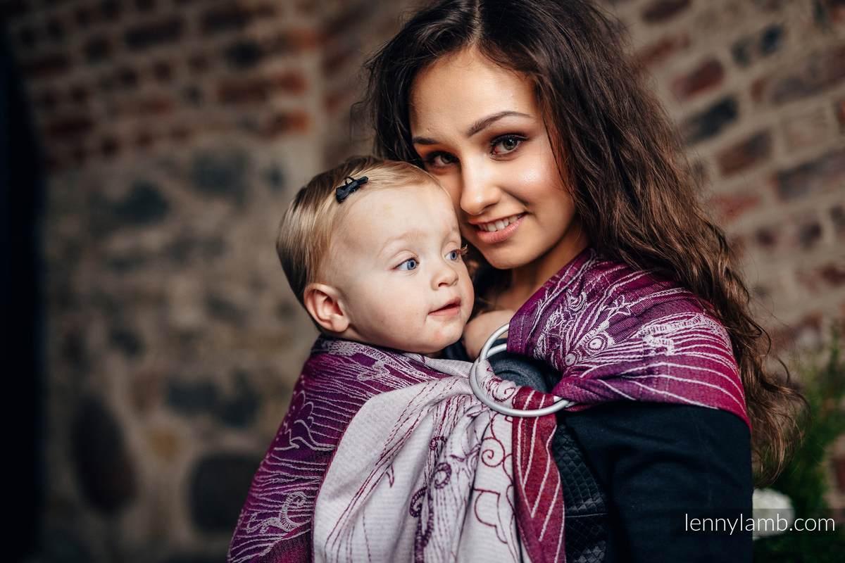 Żakardowa chusta kółkowa do noszenia dzieci, bawełna, ramię bez zakładek - SOWY BUBO - ZAGUBIONE W BURGUNDII - long 2.1m #babywearing