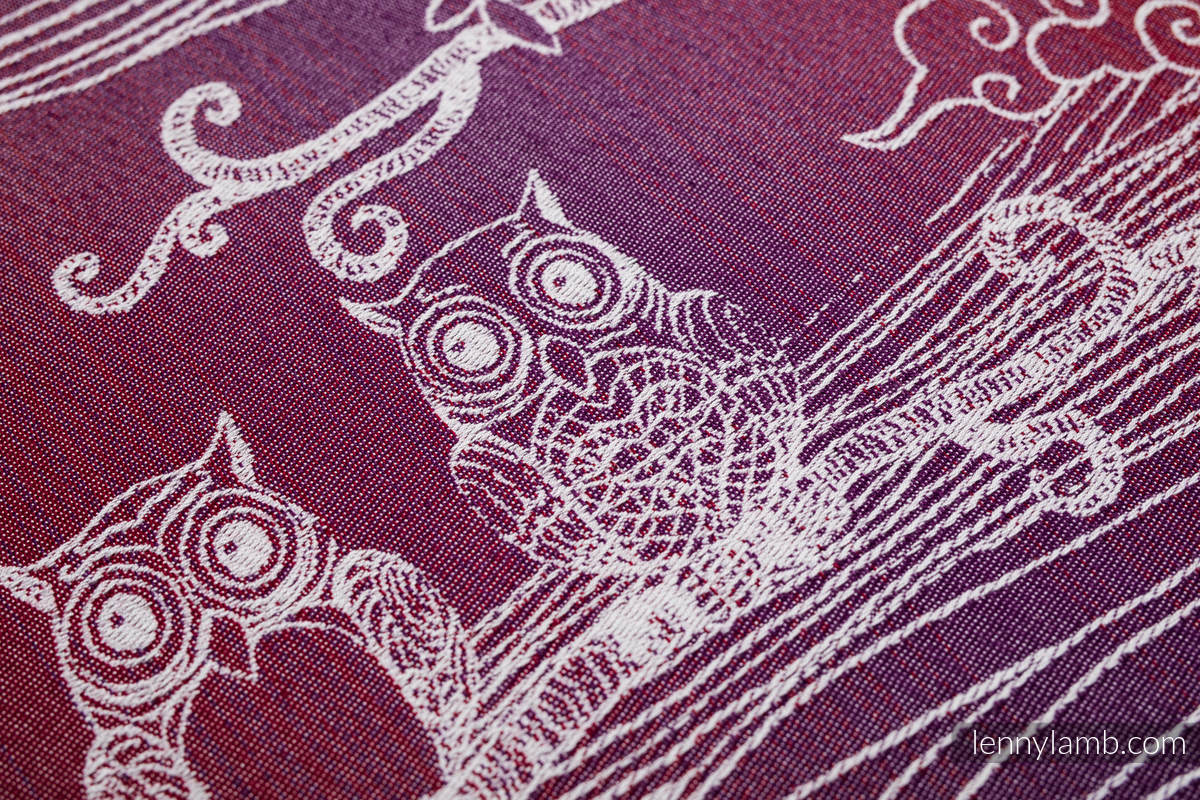 Baby Wrap, Jacquard Weave (100% cotton) - BUBO OWLS - LOST IN BORDEAUX - size XL #babywearing