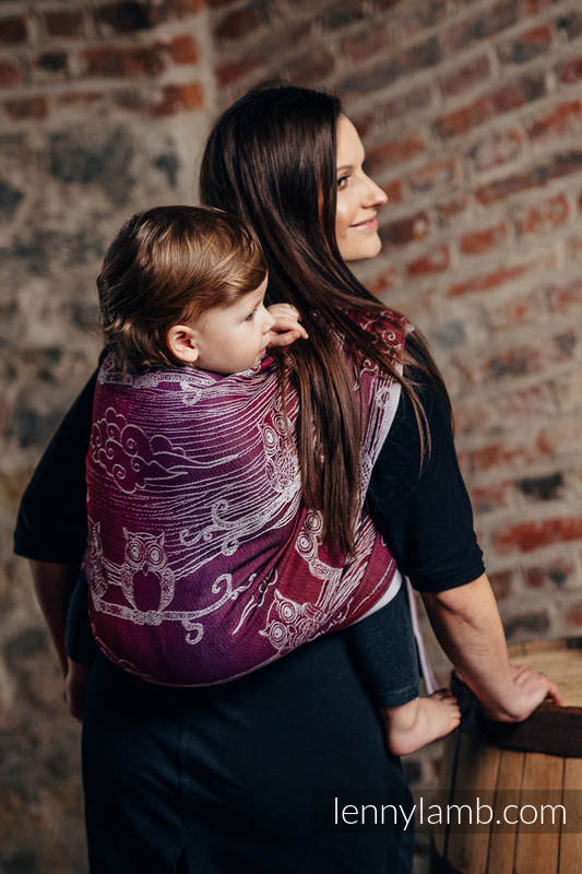 Baby Wrap, Jacquard Weave (100% cotton) - BUBO OWLS - LOST IN BORDEAUX - size M (grade B) #babywearing