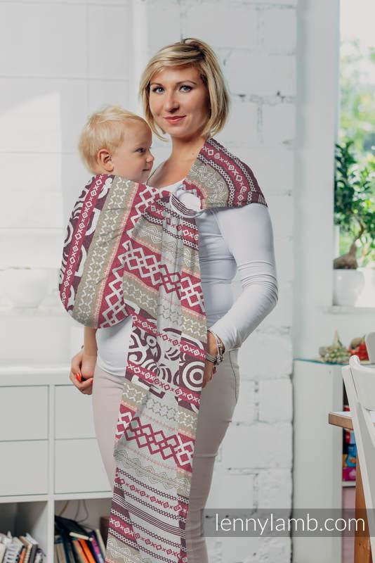 Żakardowa chusta kółkowa do noszenia dzieci, bawełna, ramię bez zakładek - GOOD VIBES #babywearing