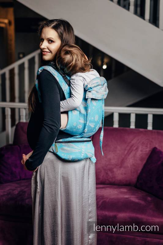 Lenny Buckle Onbuhimo baby carrier, standard size, jacquard weave (66% cotton, 34% bamboo) - DRAGONFLY GREY & TURQUOISE #babywearing