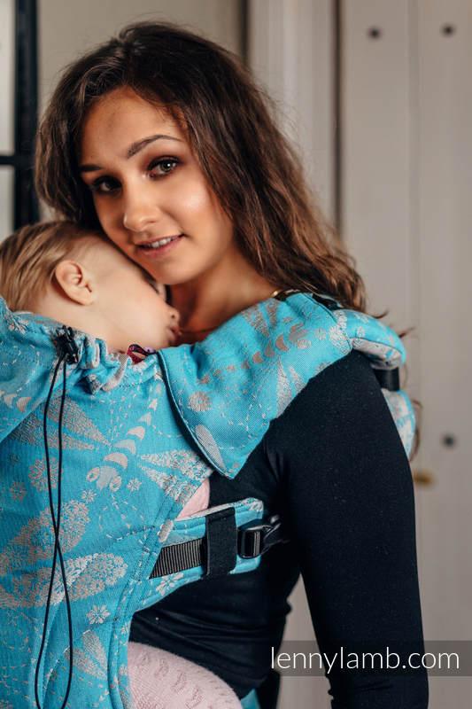 Nosidełko Ergonomiczne z tkaniny żakardowej, 66% bawełna, 34% bambus , Baby Size, WAŻKI SZARY Z TURKUSEM, Druga Generacja #babywearing