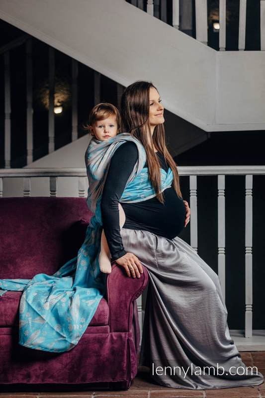 Baby Wrap, Jacquard Weave (66% cotton, 34% bamboo) - DRAGONFLY GREY & TURQUOISE - size XS #babywearing