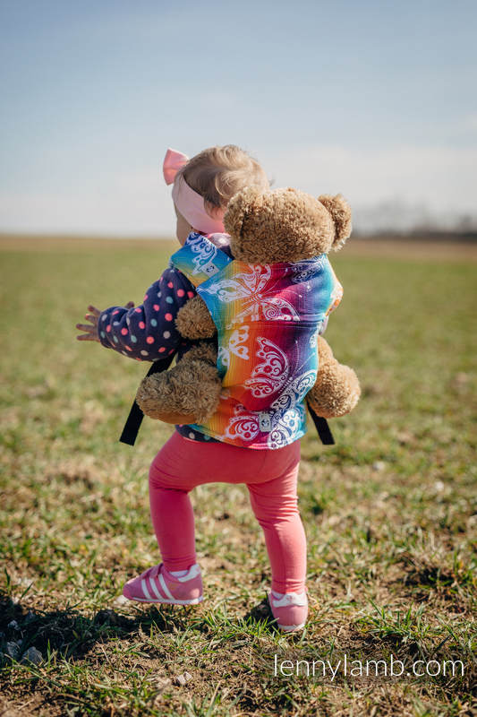 Doll Carrier made of woven fabric, 100% cotton - BUTTERFLY RAINBOW LIGHT #babywearing