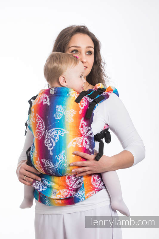 LennyUp Carrier, Standard Size, jacquard weave 100% cotton - BUTTERFLY RAINBOW LIGHT #babywearing