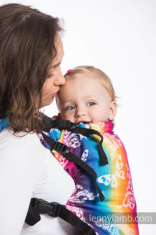 LennyUp Carrier, Standard Size, jacquard weave 100% cotton - BUTTERFLY RAINBOW LIGHT #babywearing