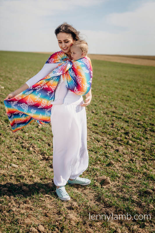 Ringsling, Jacquard Weave (100% cotton) - with gathered shoulder - BUTTERFLY RAINBOW LIGHT - long 2.1m #babywearing