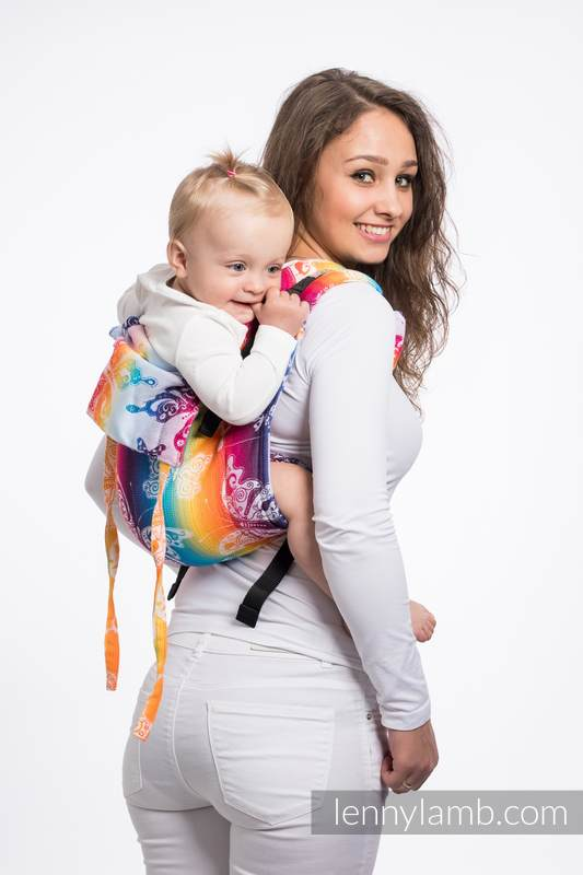 Lenny Buckle Onbuhimo baby carrier, standard size, jacquard weave (100% cotton) - BUTTERFLY RAINBOW LIGHT #babywearing