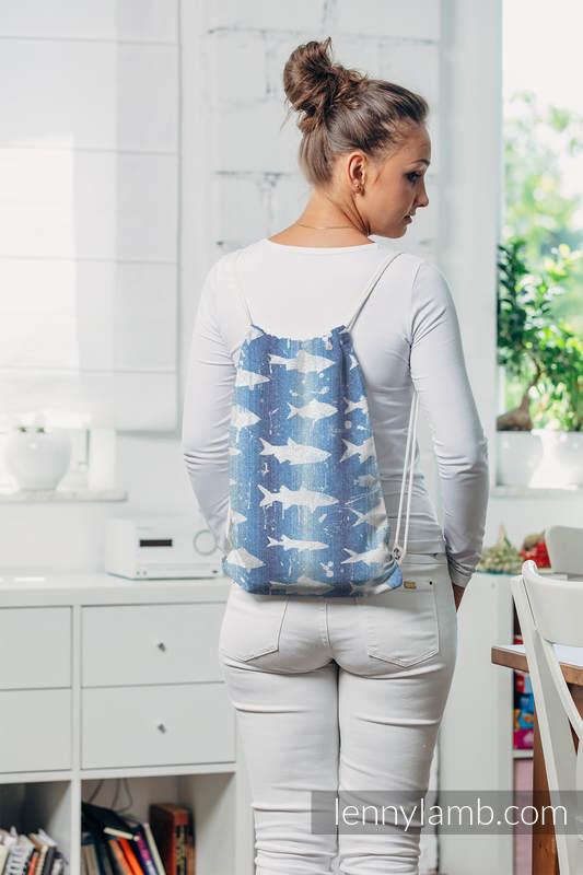Mochila portaobjetos hecha de tejido de fular (100% algodón) - FISH'KA BIG BLUE - talla estándar 32cmx43cm #babywearing
