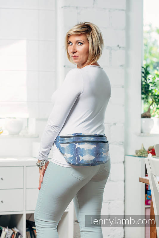 Waist Bag made of woven fabric, size large (100% cotton) - FISH'KA BIG BLUE  #babywearing