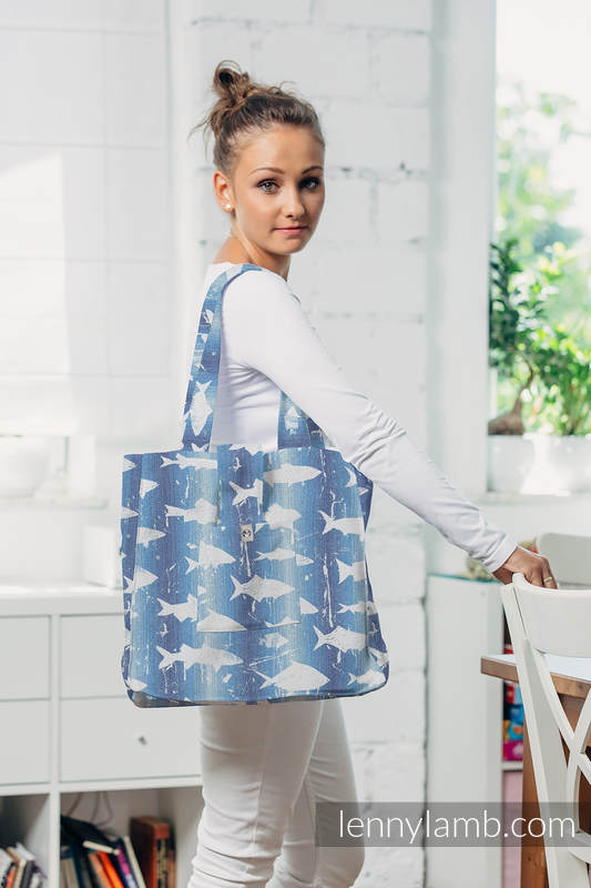 Bolso hecho de tejido de fular (100% algodón) - FISH'KA BIG BLUE - talla estándar 37 cm x 37 cm #babywearing