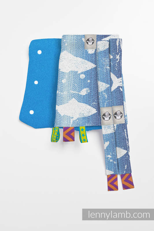 Drool Pads & Reach Straps Set, (60% cotton, 40% polyester) - FISH'KA BIG BLUE  #babywearing