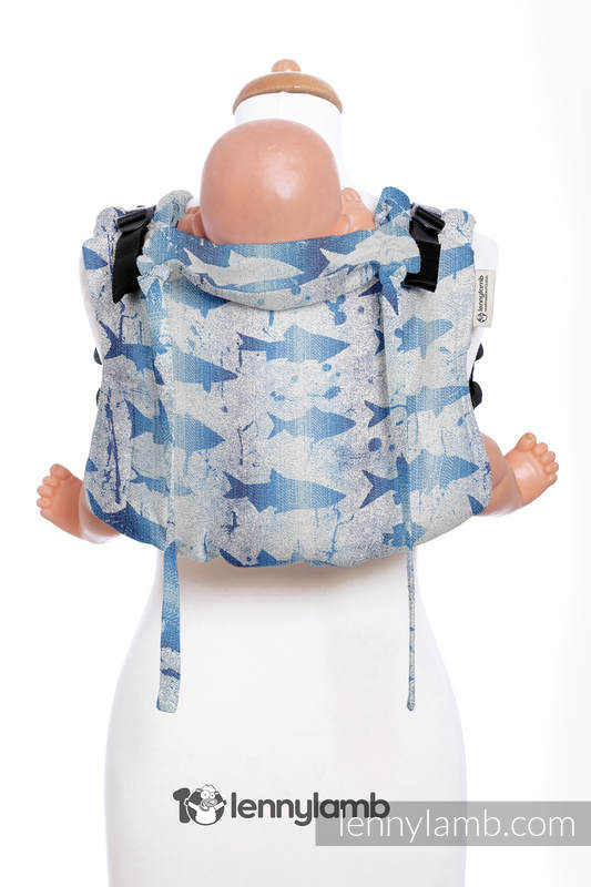 Lenny Buckle Onbuhimo baby carrier, standard size, jacquard weave (100% cotton) - FISH'KA BIG BLUE REVERSE  #babywearing