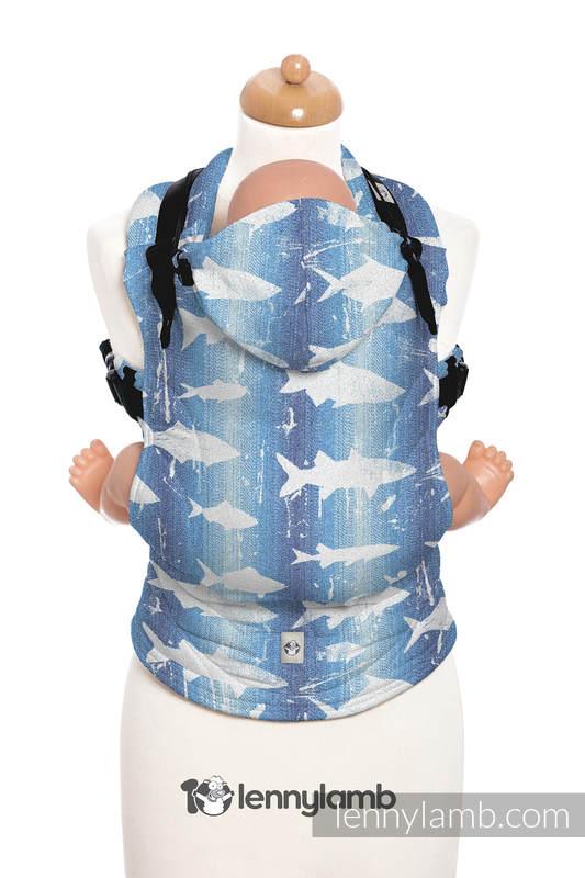 Nosidełko Ergonomiczne z tkaniny żakardowej 100% bawełna , Baby Size, FISH'KA WIELKI BŁĘKIT - Druga Generacja #babywearing