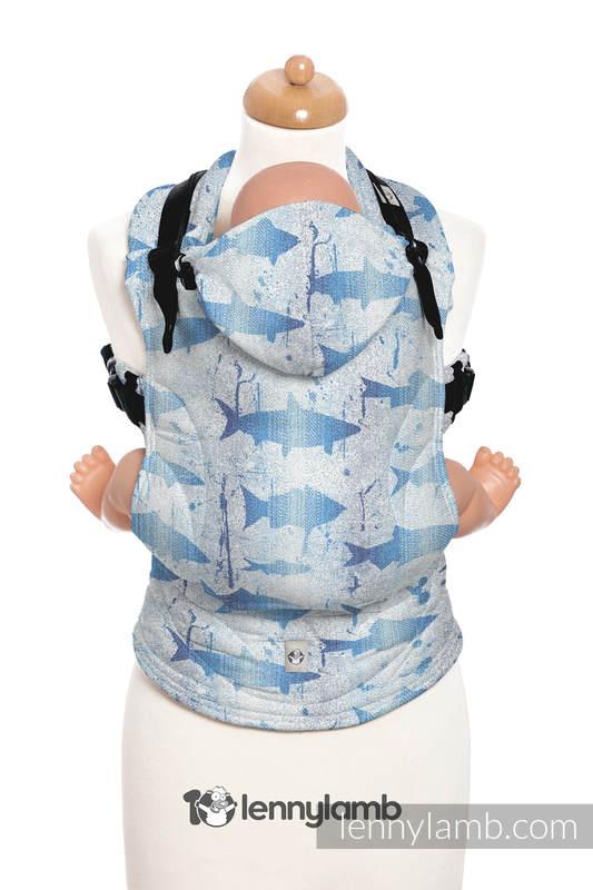 Nosidełko Ergonomiczne z tkaniny żakardowej 100% bawełna , Toddler Size, FISH'KA WIELKI BŁĘKIT REWERS - Druga Generacja #babywearing