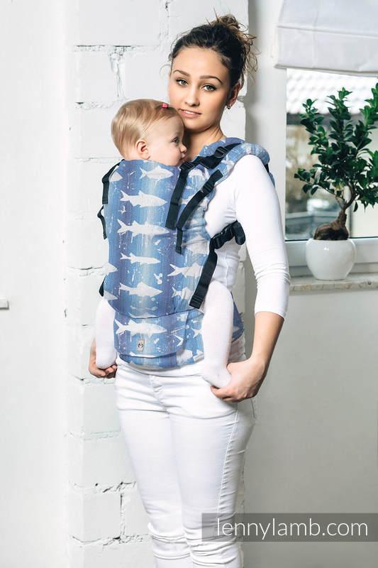 LennyUp Tragehilfe, Größe Standard, Jacquardwebung, 100% Baumwolle - FISH'KA BIG BLUE  #babywearing