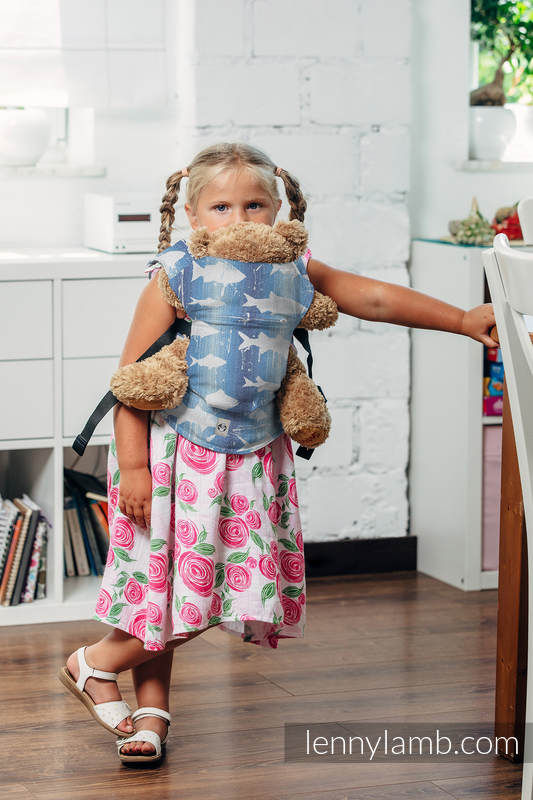 Doll Carrier made of woven fabric, 100% cotton - FISH'KA BIG BLUE  #babywearing