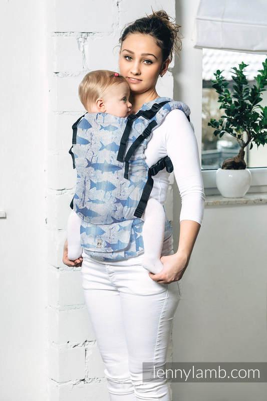 LennyUp Carrier, Standard Size, jacquard weave 100% cotton - FISH'KA BIG BLUE REVERSE   #babywearing