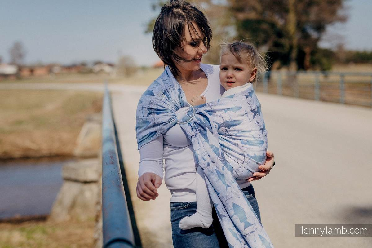 Ringsling, Jacquard Weave (100% cotton) - with gathered shoulder - FISH'KA BIG BLUE REVERSE  - long 2.1m #babywearing
