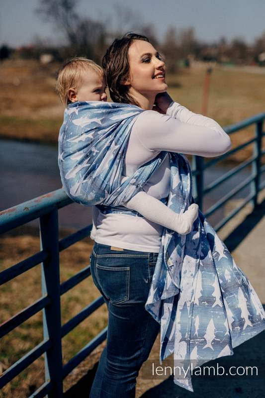 Baby Wrap, Jacquard Weave (100% cotton) - FISH'KA BIG BLUE - size XL #babywearing