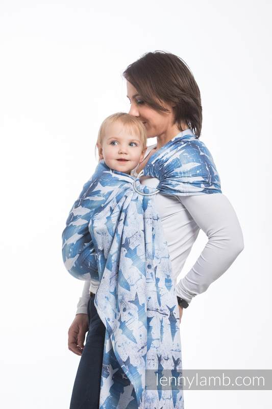 Ringsling, Jacquard Weave (100% cotton) - with gathered shoulder - FISH'KA BIG BLUE  - long 2.1m #babywearing