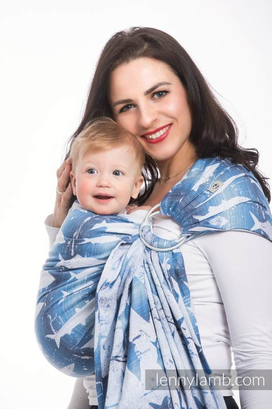 Ringsling, Jacquard Weave (100% cotton) - FISH'KA BIG BLUE - standard 1.8m #babywearing