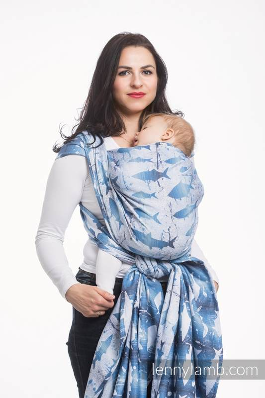 Baby Wrap, Jacquard Weave (100% cotton) - FISH'KA BIG BLUE - size S #babywearing
