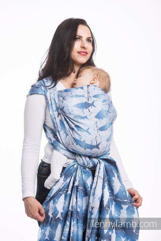 Baby Wrap, Jacquard Weave (100% cotton) - FISH'KA BIG BLUE - size L #babywearing