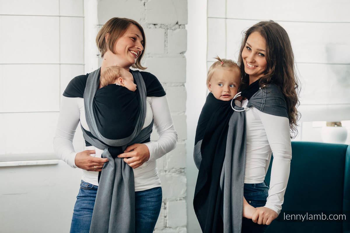 Basic Line Ring Sling - OBSIDIAN - 100% Cotton - Broken Twill Weave -  with gathered shoulder - standard 1.8m #babywearing