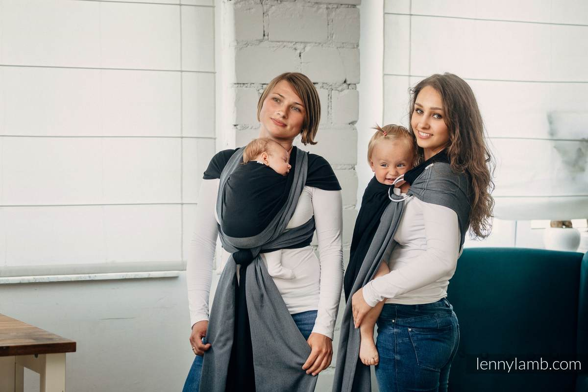 Basic Line Ring Sling - OBSIDIAN - 100% Cotton - Broken Twill Weave -  with gathered shoulder  #babywearing