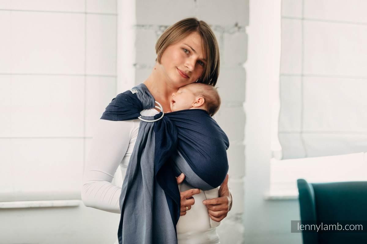 Basic Line Ring Sling - AZURITE - 100% Cotton - Broken Twill Weave -  with gathered shoulder  #babywearing