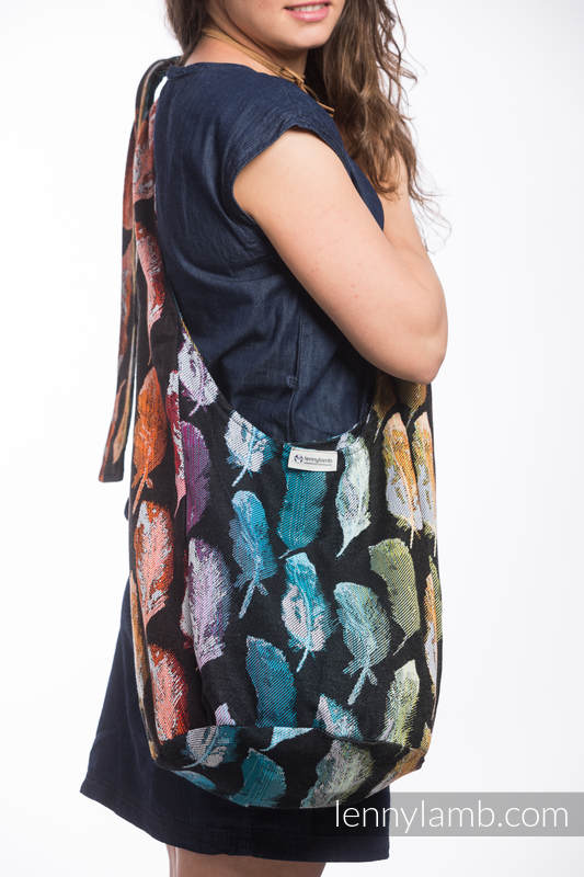 Hobo Bag made of woven fabric, 100% cotton - PAINTED FEATHERS RAINBOW DARK #babywearing