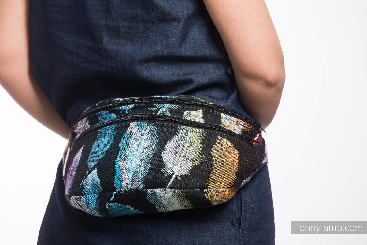 Waist Bag made of woven fabric, size large (100% cotton) - PAINTED FEATHERS RAINBOW DARK #babywearing