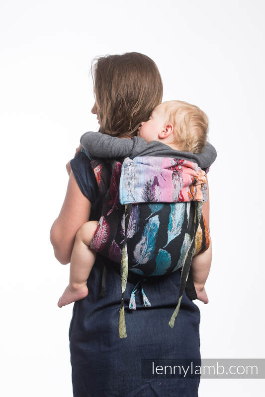 Lenny Buckle Onbuhimo baby carrier, standard size, jacquard weave (100% cotton) - PAINTED FEATHERS RAINBOW DARK #babywearing