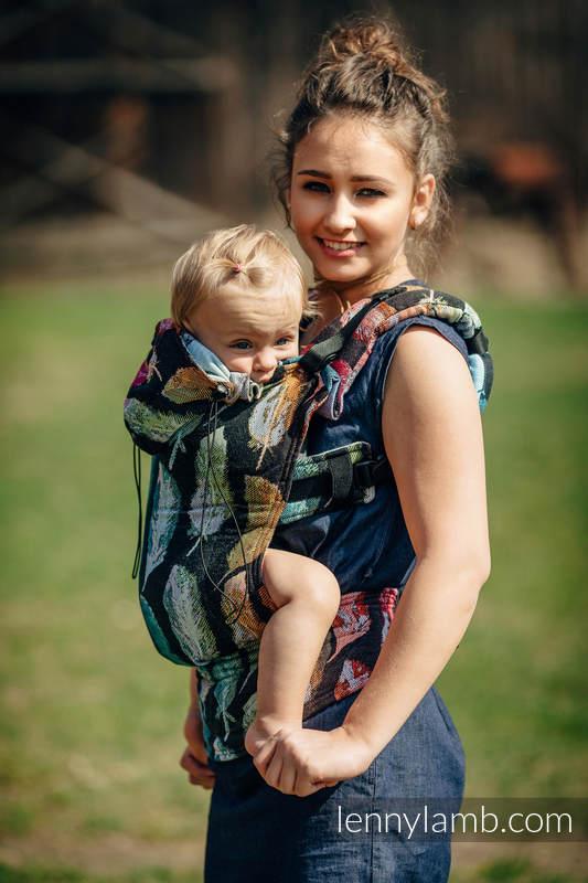 Nosidełko Ergonomiczne z tkaniny żakardowej 100% bawełna , Toddler Size, MALOWANE PIÓRA TĘCZA DARK - Druga Generacja #babywearing