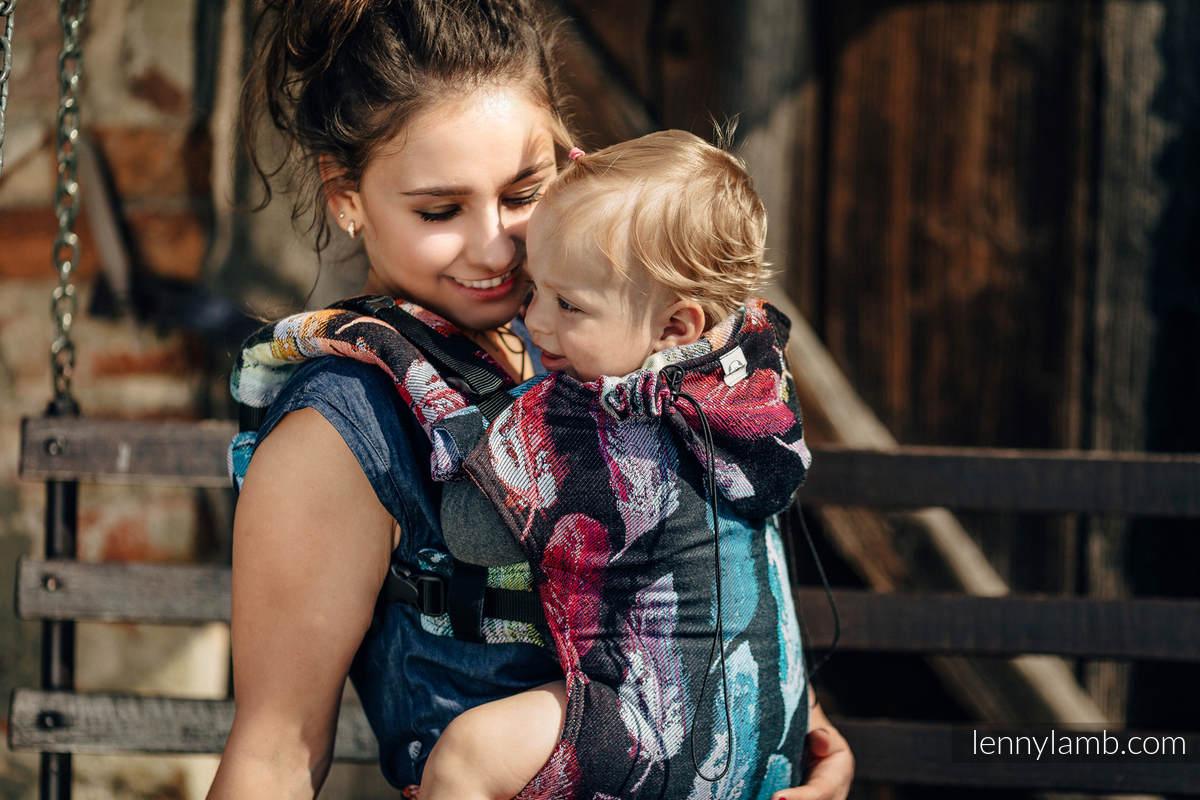 Nosidełko Ergonomiczne z tkaniny żakardowej 100% bawełna , Baby Size, MALOWANE PIÓRA TĘCZA DARK - Druga Generacja #babywearing