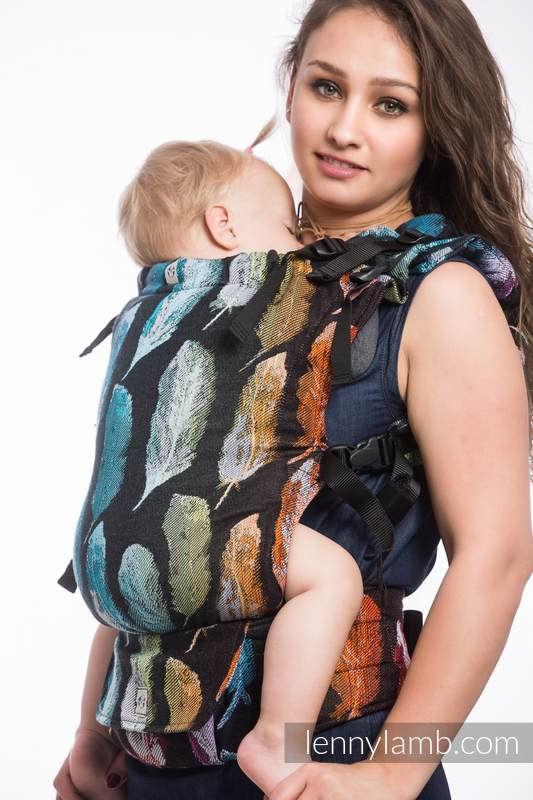 LennyUp Carrier, Standard Size, jacquard weave 100% cotton - PAINTED FEATHERS RAINBOW DARK #babywearing