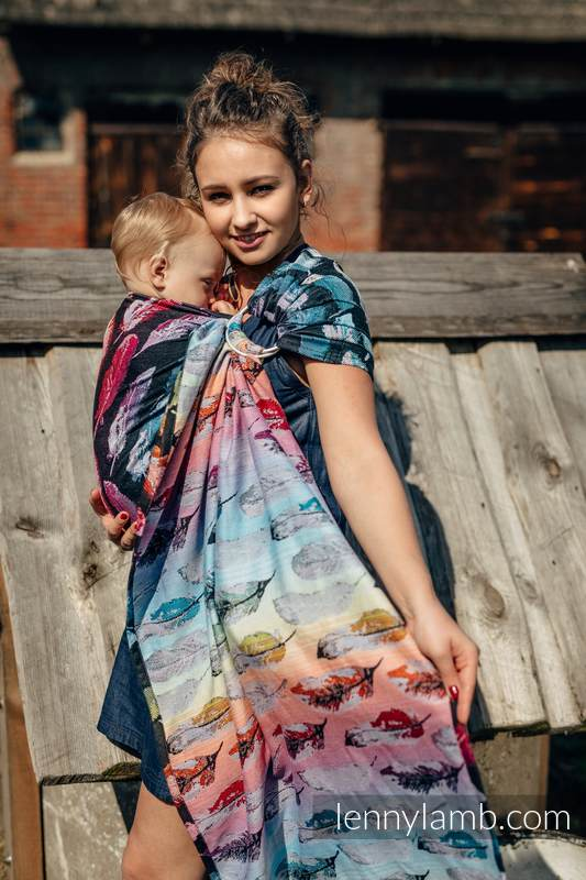 Ringsling, Jacquard Weave (100% cotton) - with gathered shoulder - PAINTED FEATHERS RAINBOW DARK #babywearing