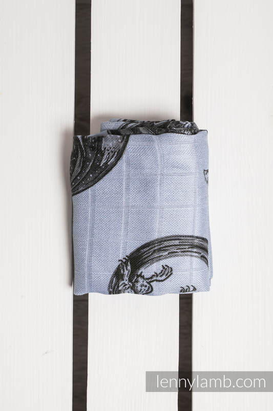 Muslin Square - DRAGON BLACK & GREY (grade B) #babywearing