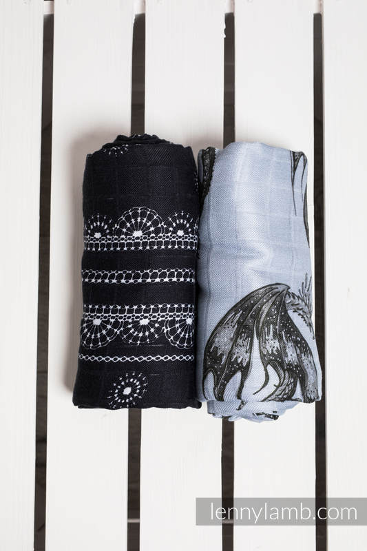 Swaddle Wrap Set - DRAGON BLACK & GREY, GLAMOROUS LACE #babywearing