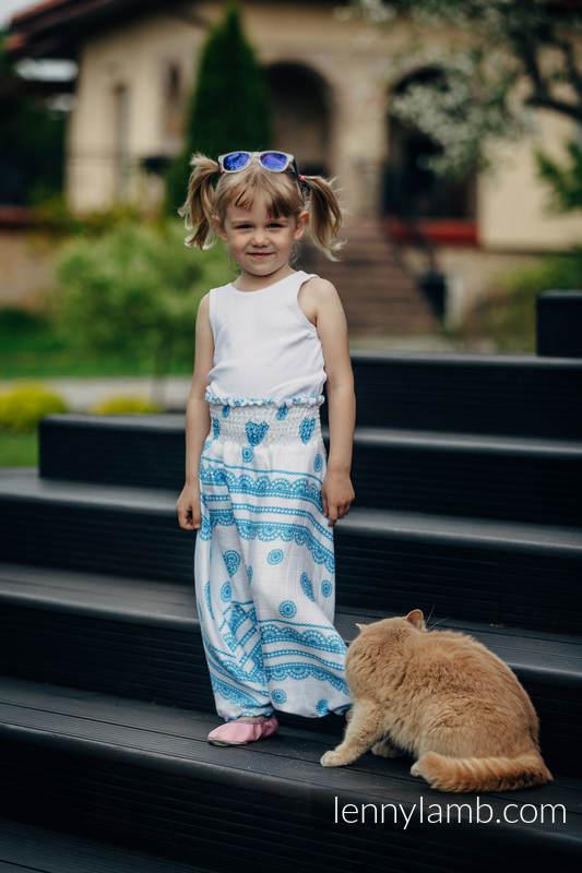 LennyAladdin bambusowe dla dzieci - rozmiar 104 - LUKROWA KORONKA TURKUS Z BIELĄ #babywearing