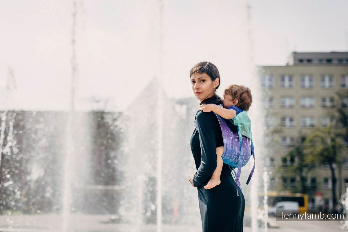 Lenny Buckle Onbuhimo baby carrier, standard size, jacquard weave (65% cotton, 35% linen) - SYMPHONY PURE JOY #babywearing