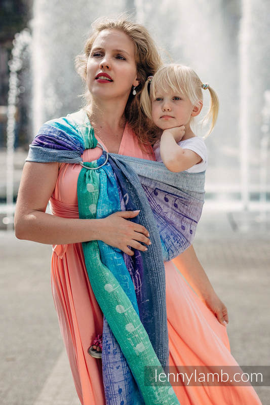 Ringsling, Jacquard Weave, with gathered shoulder (65% cotton, 35% linen) - SYMPHONY PURE JOY #babywearing
